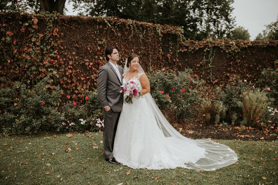 bridal couple in the Rose Garden