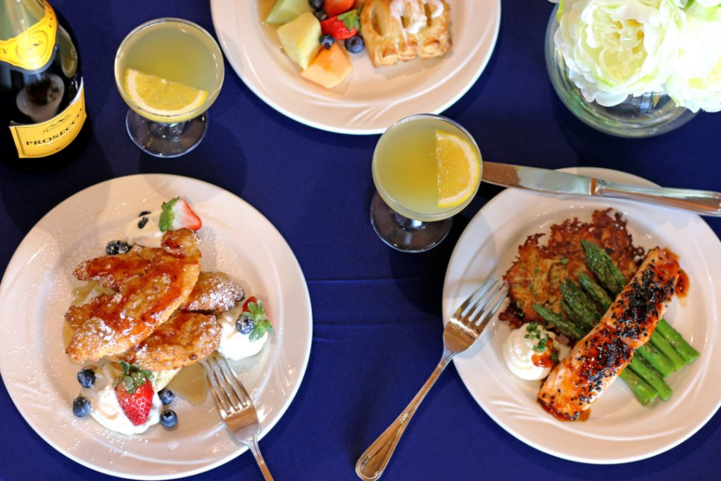 Brunch selections on blue linen tablecloth